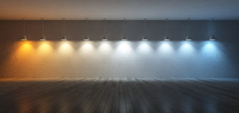 3Ds color temperature scale. 3D renderuing image of 10 hanging lamps which use different bulbs. Color temperature scale. spectrum color on the cracked concrete Royalty Free Stock Photos