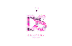 Ds d s alphabet letter logo pink purple line icon template vecto Stock Image
