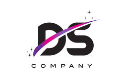 DS D S Black Letter Logo Design with Purple Magenta Swoosh Stock Images