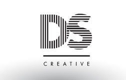DS D S Black and White Lines Letter Logo Design. Stock Image