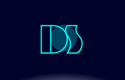 Ds d s blue line circle alphabet letter logo icon template vecto Royalty Free Stock Photo