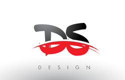 DS D S Brush Logo Letters with Red and Black Swoosh Brush Front Royalty Free Stock Photo