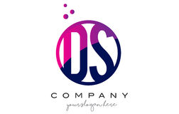 DS D S Circle Letter Logo Design with Purple Dots Bubbles Stock Photos
