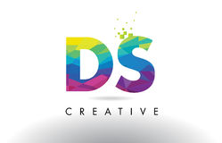 DS D S Colorful Letter Origami Triangles Design Vector. Stock Image
