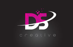 DS D S Creative Letters Design With White Pink Colors Stock Image