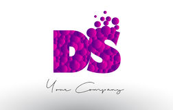 DS D S Dots Letter Logo with Purple Bubbles Texture. Stock Image