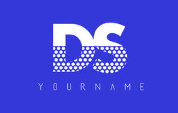 DS D S Dotted Letter Logo Design with Blue Background. Stock Photo