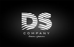 DS D S letter alphabet logo black white icon design Royalty Free Stock Image