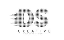 DS D S Letter Logo with Black Dots and Trails. Royalty Free Stock Photos