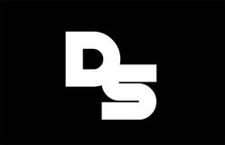 DS D S black white bold  joint letter logo Stock Photos
