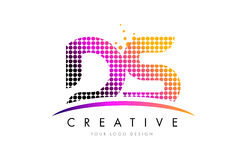 DS D S Letter Logo Design with Magenta Dots and Swoosh Stock Images