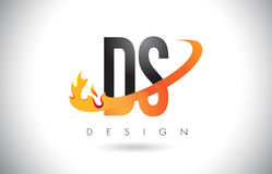 DS D S Letter Logo with Fire Flames Design and Orange Swoosh. Stock Photos