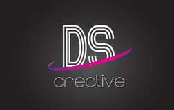 DS D S Letter Logo with Lines Design And Purple Swoosh. Stock Images