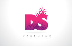 DS D S Letter Logo with Pink Purple Color and Particles Dots Des Stock Image