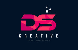 DS D S Letter Logo with Purple Low Poly Pink Triangles Concept Stock Photography