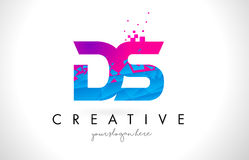 DS D S Letter Logo with Shattered Broken Blue Pink Texture Desig Royalty Free Stock Photo
