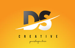 DS D S Letter Modern Logo Design with Yellow Background and Swoo Royalty Free Stock Photo