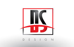 DS D S Logo Letters with Red and Black Colors and Swoosh. Royalty Free Stock Photos