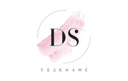 DS D S Watercolor Letter Logo Design with Circular Brush Pattern Royalty Free Stock Images