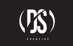 DS D S White Letter Logo Design with Black Background. Stock Image