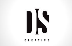 DS D S White Letter Logo Design with Black Square. Stock Images