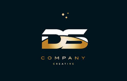 Ds d s  white yellow gold golden luxury alphabet letter logo ico Royalty Free Stock Image