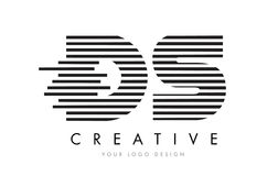 DS D S Zebra Letter Logo Design with Black and White Stripes Royalty Free Stock Images