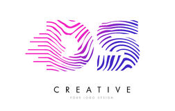 DS D S Zebra Lines Letter Logo Design with Magenta Colors Stock Photos