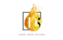 DS Gold Letter Logo Painted Brush Texture Strokes. Royalty Free Stock Images