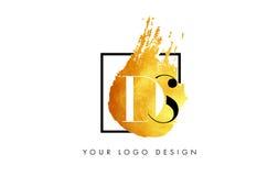 DS gouden Brief Logo Painted Brush Texture Strokes Royalty-vrije Stock Afbeeldingen