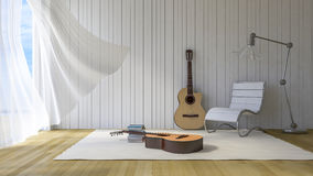 3ds guitar in the room. 3Ds rendered guitars in the room, Old wood floor,Guitar, Chair, lamp and books lay on white carpet, White fabric curtains being blown by Royalty Free Stock Photography