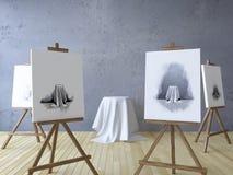 3Ds ha reso l'immagine dei treppiedi per dipingere Fotografia Stock