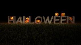 3ds Halloween słowo i bani głowa Zdjęcie Royalty Free