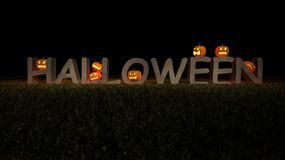 3ds halloween word and pumpkin head. 3ds rendered image of halloween word place on grasses field which have a lot of pumkin heads on it, back ground for Royalty Free Stock Photo