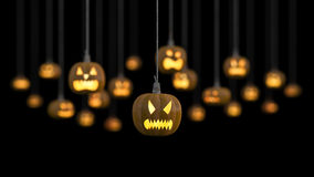 3ds hanging punpkin head. 3Ds rendered image of many pumpkin heads hanged by rope, Selective focus on front object, depth of field technic vector illustration