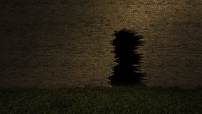3Ds hole on the brick wall. 3ds rendered image of hole on the old brown brick wall and grasses field. background for halloween festival Stock Image