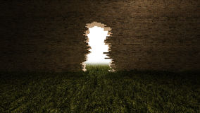 3Ds hole on the brick wall. 3ds rendered image of hole on the old brown brick wall and grasses field. background for halloween festival. Light come from behine Royalty Free Stock Images