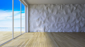 3Ds interior polygon wall. 3ds rendered image of loft style room, crackerd concrete wall,wooden floor, low polygon decorative wall Stock Image