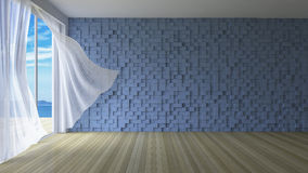 3Ds interior. 3ds rendered image of simple style room,  White fabric curtains being blown by wind from sea, sunlight from window and shadow on the floor, blue Stock Photo