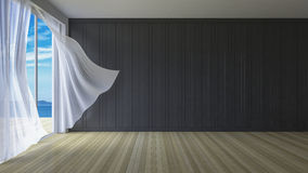 3Ds interior. 3ds rendered image of simple style room,  White fabric curtains being blown by wind from sea, sunlight from window and shadow on the floor Royalty Free Stock Photo