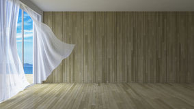 3Ds interior. 3ds rendered image of simple style room,  White fabric curtains being blown by wind from sea, sunlight from window and shadow on the floor Stock Image
