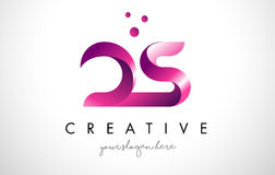 DS Letter Logo Design with Purple Colors and Dots Stock Images