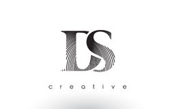 DS Logo Design With Multiple Lines and Black and White Colors. Royalty Free Stock Photography