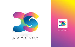 DS Logo Letter With Rainbow Vibrant Beautiful Colors. Colorful T Stock Photos