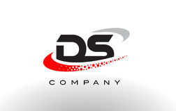 DS Modern Letter Logo Design with Red Dotted Swoosh Royalty Free Stock Photography