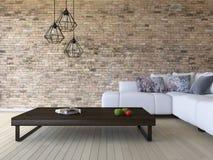 3ds odpłaca się białą kanapę i drewnianego stół Zdjęcie Stock