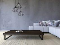 3ds odpłaca się białą kanapę i drewnianego stół Obrazy Stock