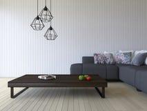 3ds odpłaca się białą kanapę i drewnianego stół Fotografia Stock