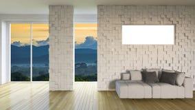 3ds que rinde la sala de estar interior Imagen de archivo libre de regalías