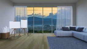 3ds que rinde la sala de estar interior Fotografía de archivo libre de regalías